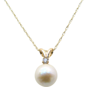 14K Yellow Gold 6.5-7mm White Akoya Pearl Pendant with Diamond Accent
