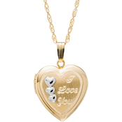 14KT Gold Filled Two Tone Heart Locket with Engraved I Love You and Triple Hearts