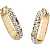 Palm Beach 14K Yellow Gold Diamond Accent Fascination Hoop Earrings
