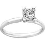 14K Gold 3/4 Ct. Princess Cut Diamond Solitaire Ring
