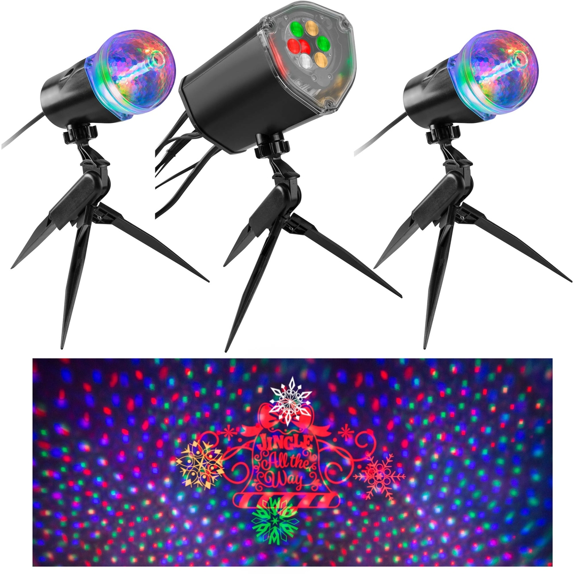 Gemmy Lightshow Projection Lightsync With Sound Jingle All The Way