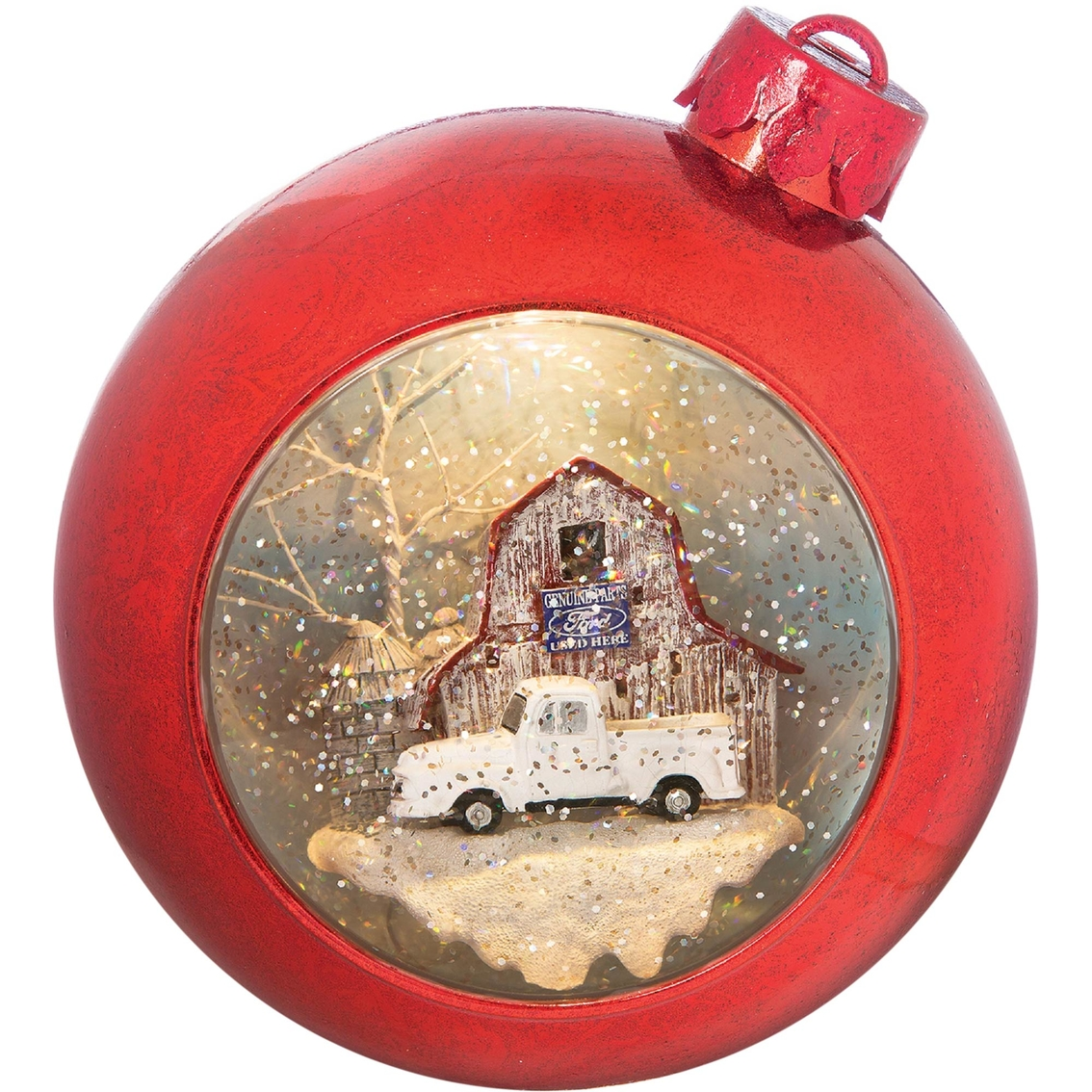 Roman Christmas Ornaments.Roman Red Musical 7 In Ornament With White Ford Truck