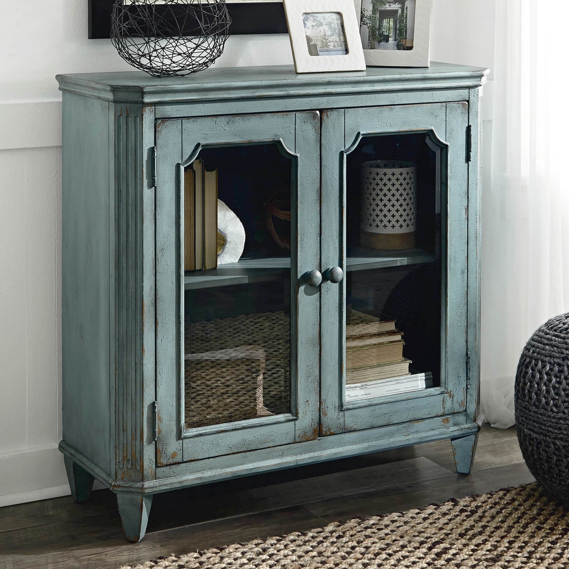 Armoires/wardrobes Forceful Shabby Chic French Glass Armoire/cabinet