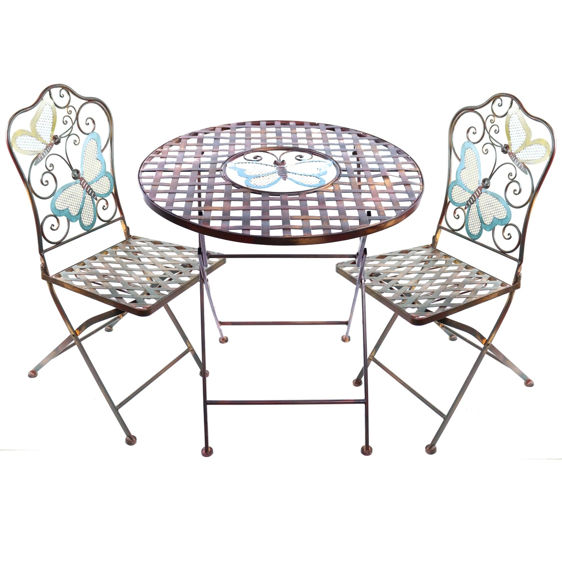 Super Alpine Butterfly Bistro Table And Two Chairs Set Patio Spiritservingveterans Wood Chair Design Ideas Spiritservingveteransorg