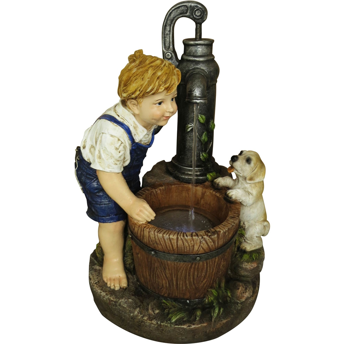 Alpine Boy And Dog With Water Pump Fountain Led Light