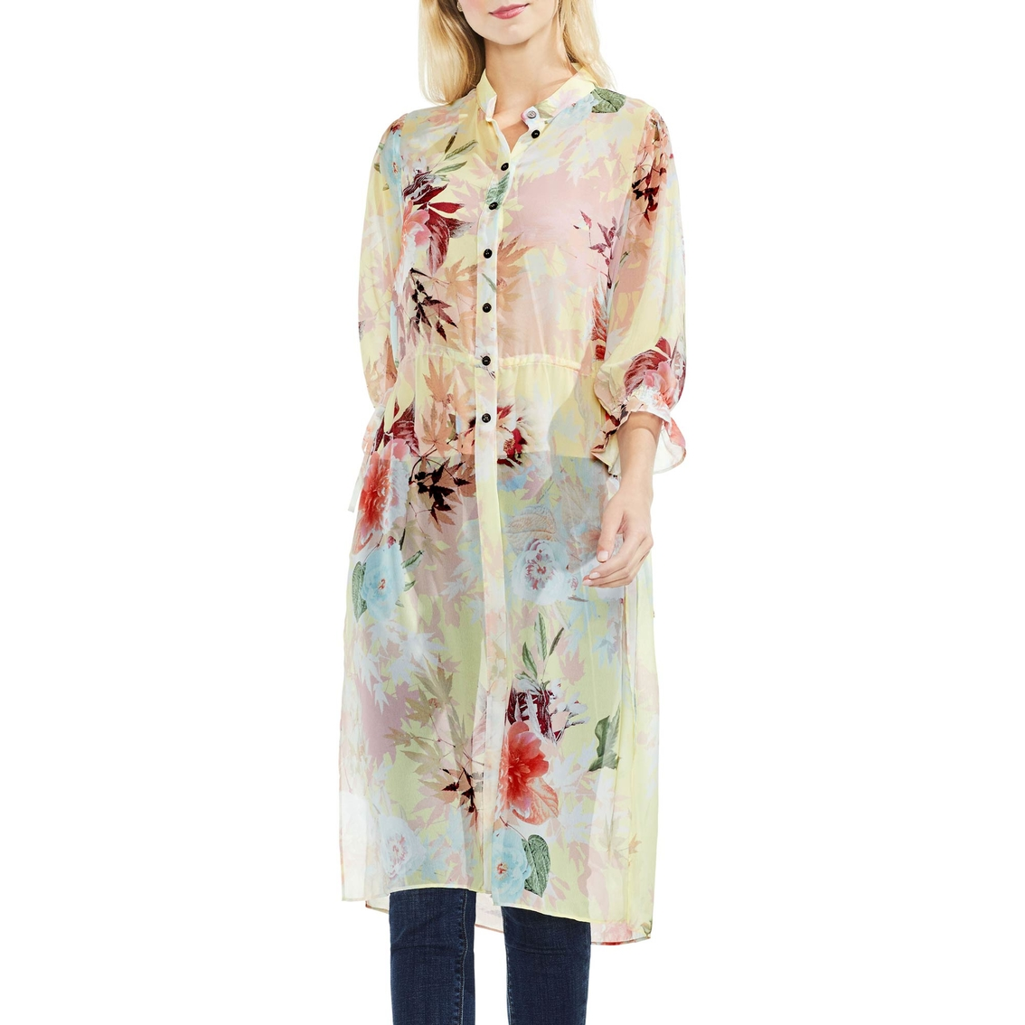 c241d41caa Vince Camuto Faded Blooms Side Tie Tunic