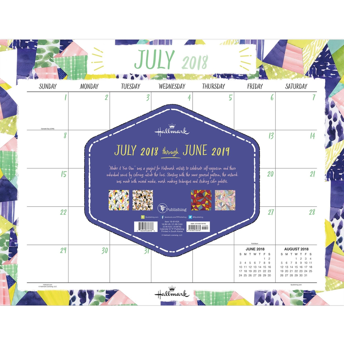 tf publishing july 2018 june 2019 art of hallmark desk pad calendar