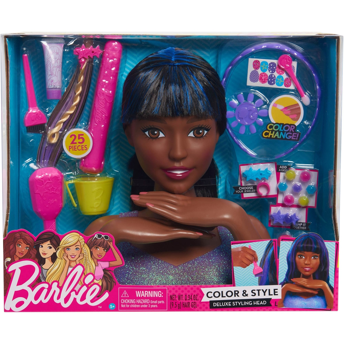 Just Play Barbie Color And Style Deluxe Styling Head African