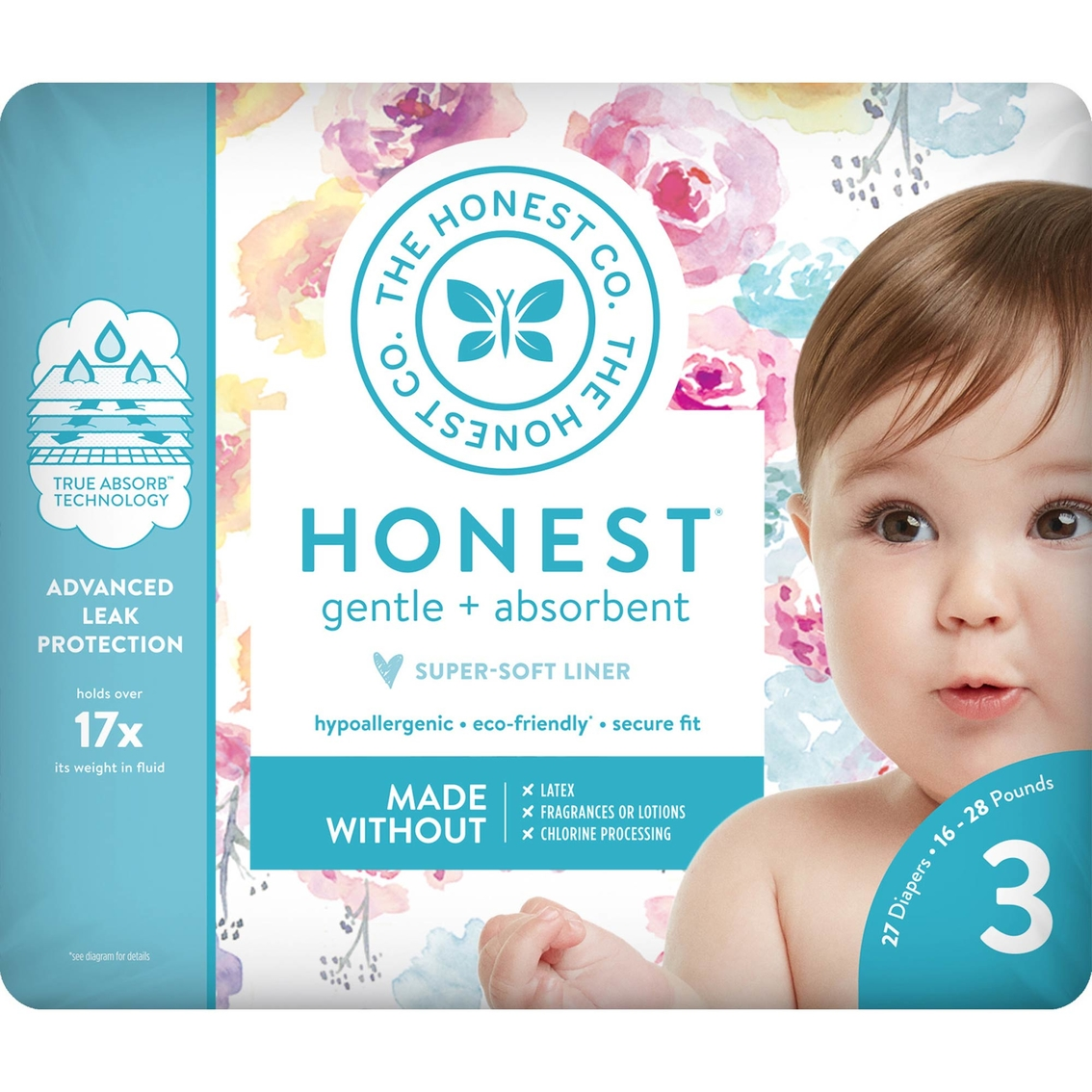 0832dfc30f133 The Honest Company Honest Diaper Rose Blossom Size 3, 34 Ct ...