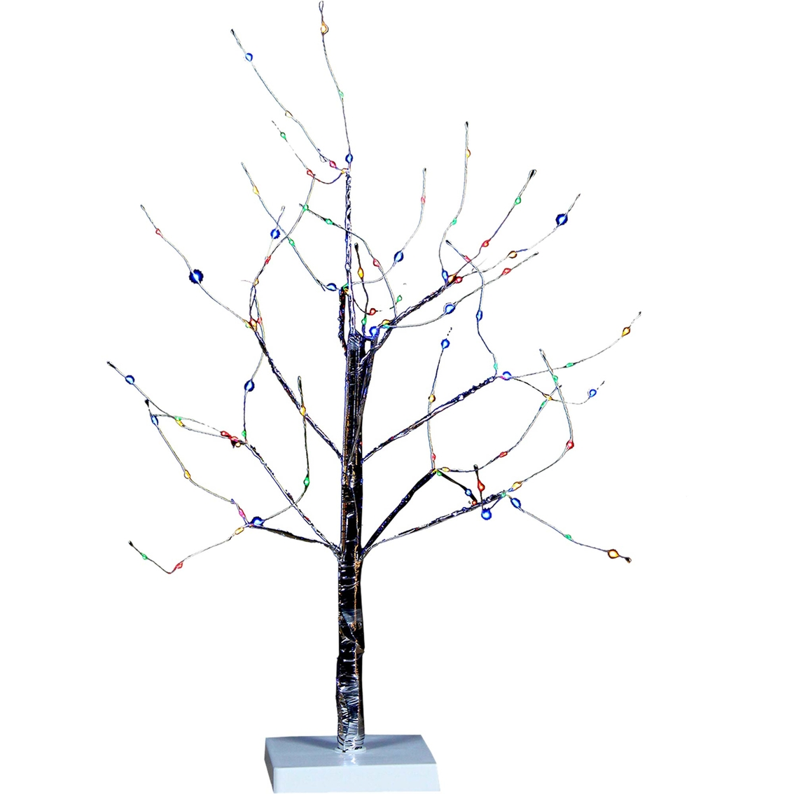 Kurt S Adler 2 Ft Silver Bark Tree With Multi Colored Micro