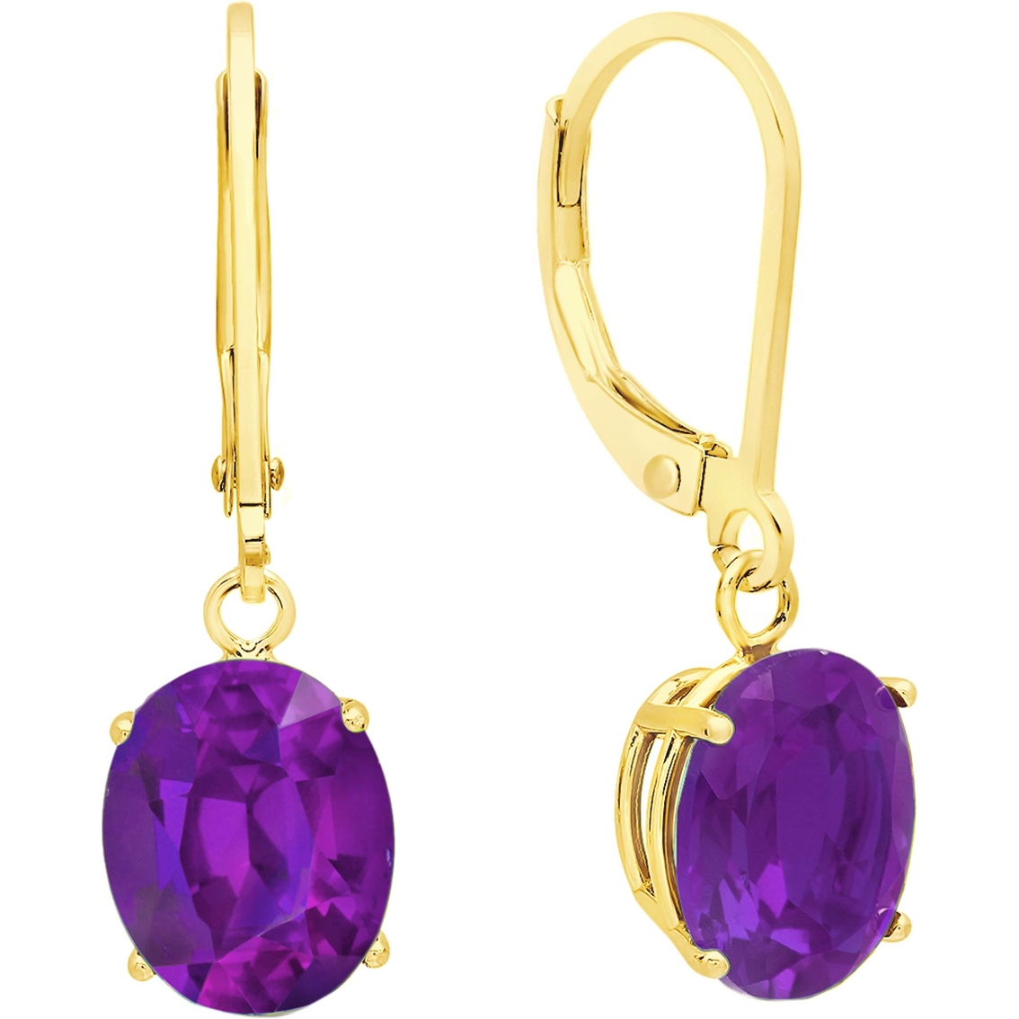 14k White Gold Oval Amethyst Leverback Earrings