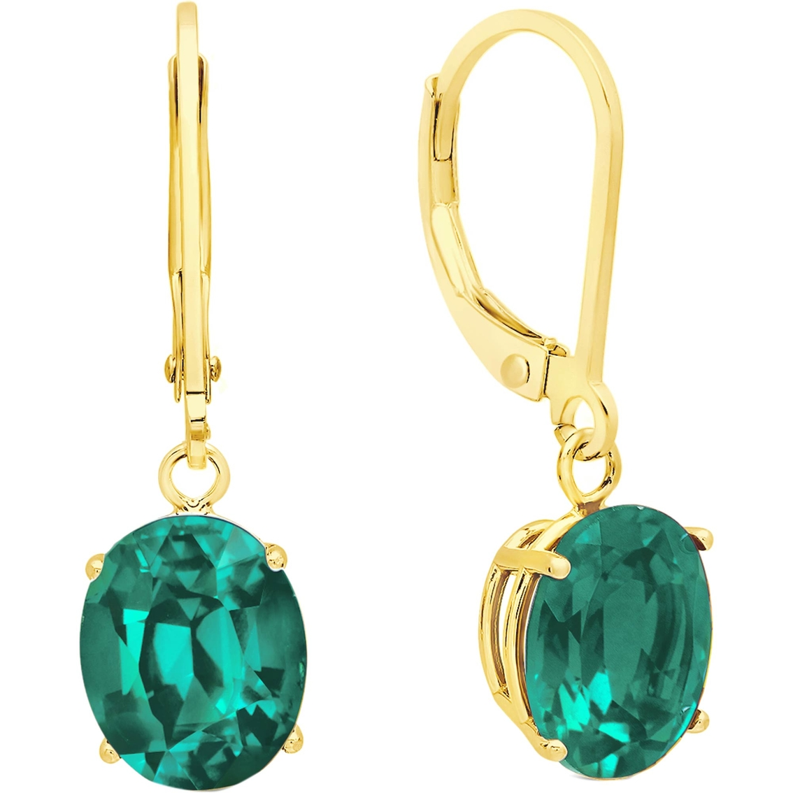 14k Yellow Gold Oval Emerald and Diamond Leverback Earrings