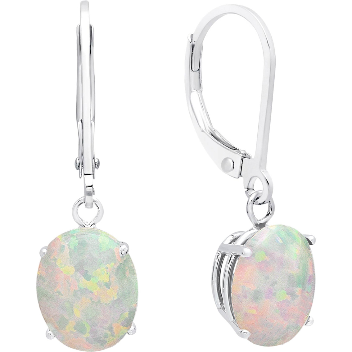 Sterling Silver Oval Created Opal Leverback Earrings