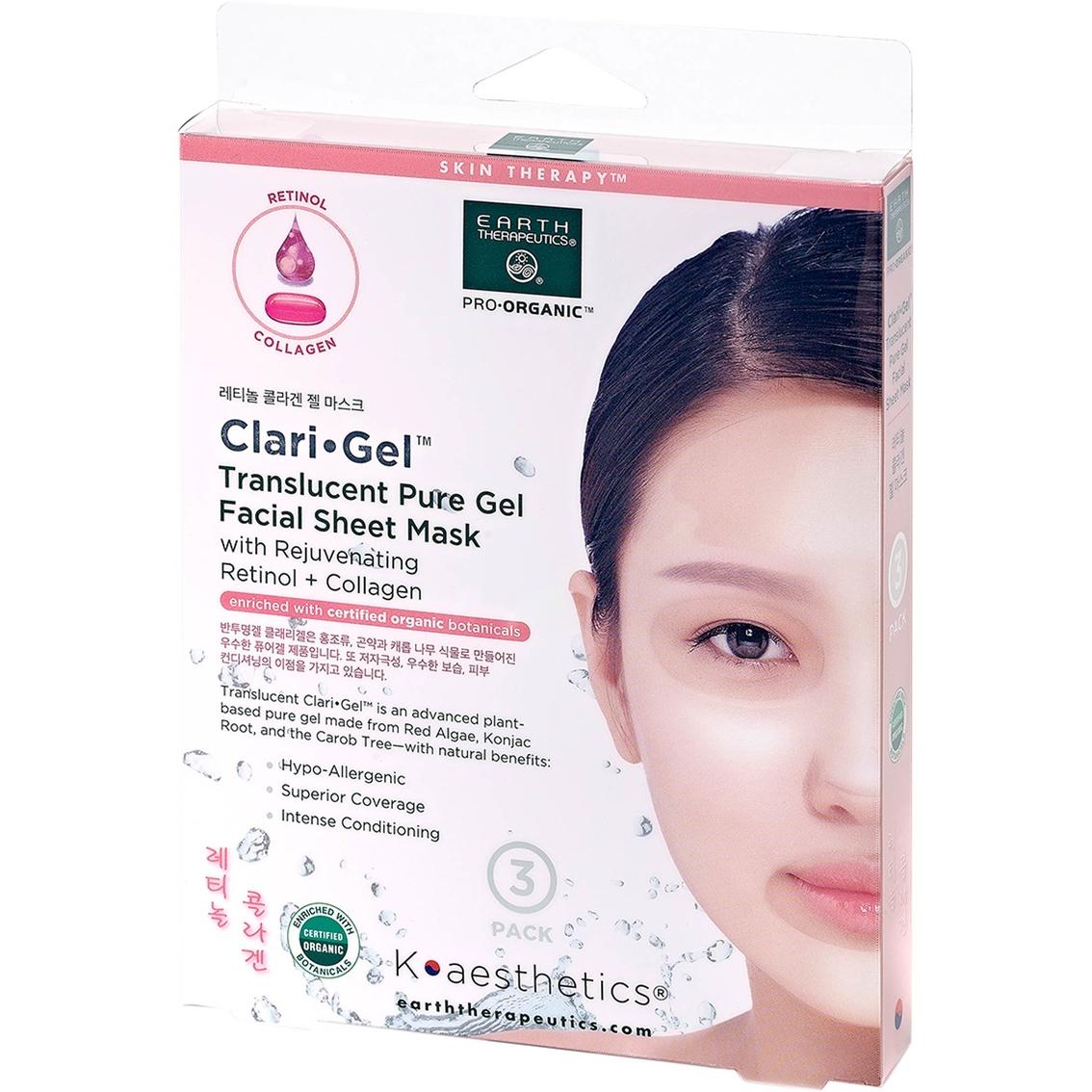 Earth Therapeutics K Aesthetics Clari Gel Mask Collagen Retinol Colagen Soap 3pcs 3