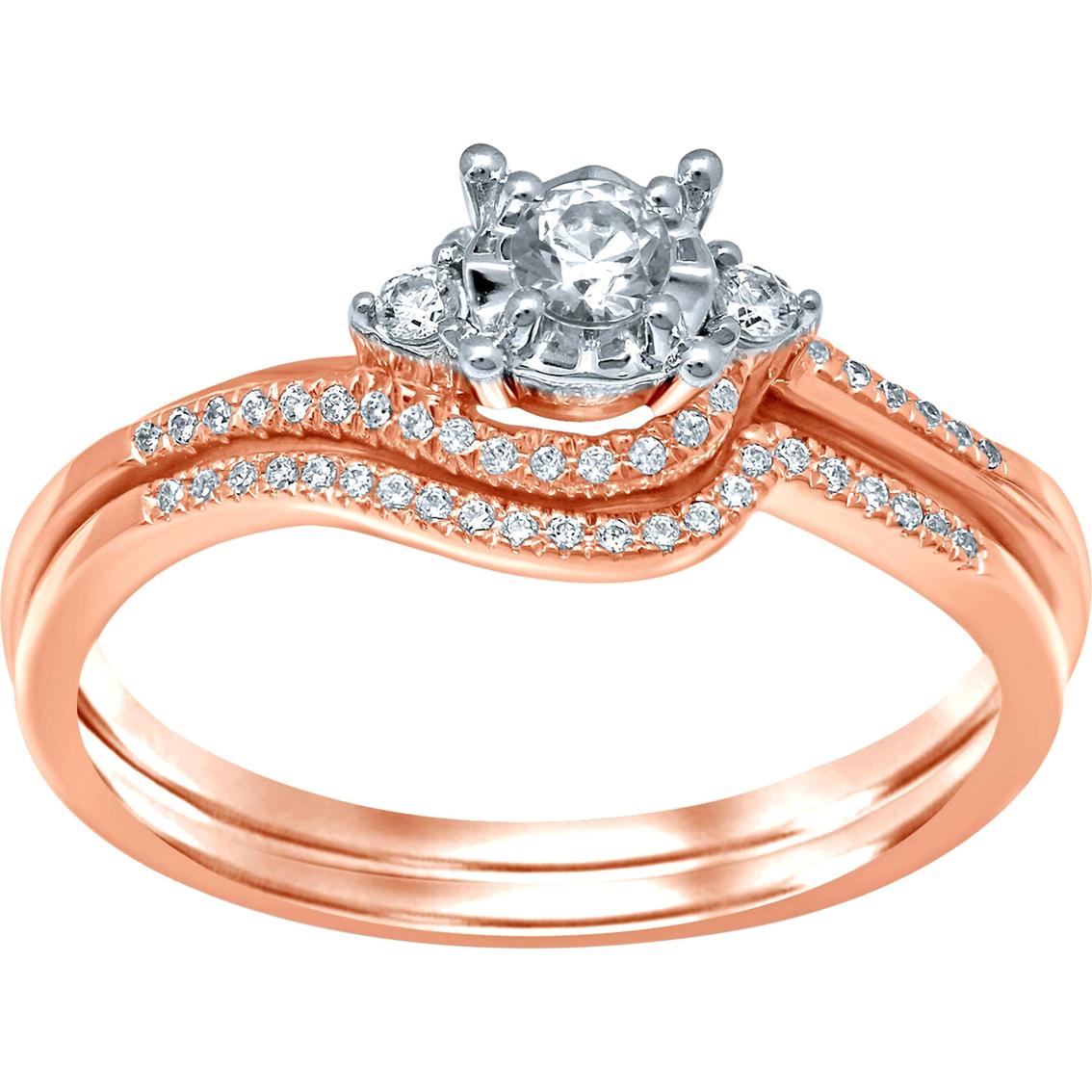 10k Rose Gold 1/4 Ctw Round Center Diamond Bridal Set | Bridal Sets & Trios | Jewelry & Watches ...