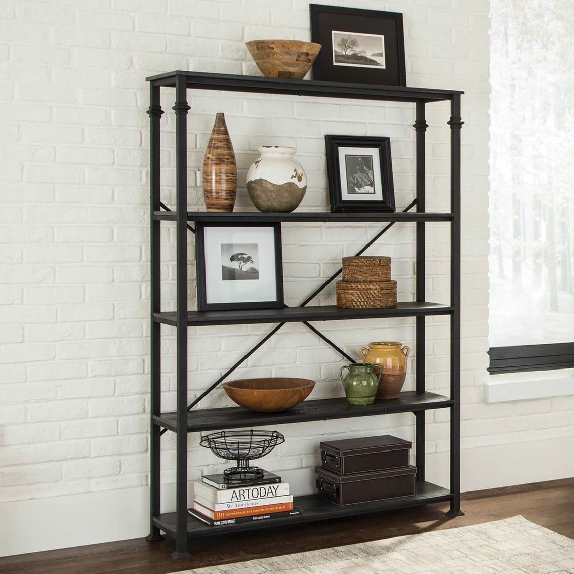 Scott Living Industrial Double 4 Shelf Bookcase