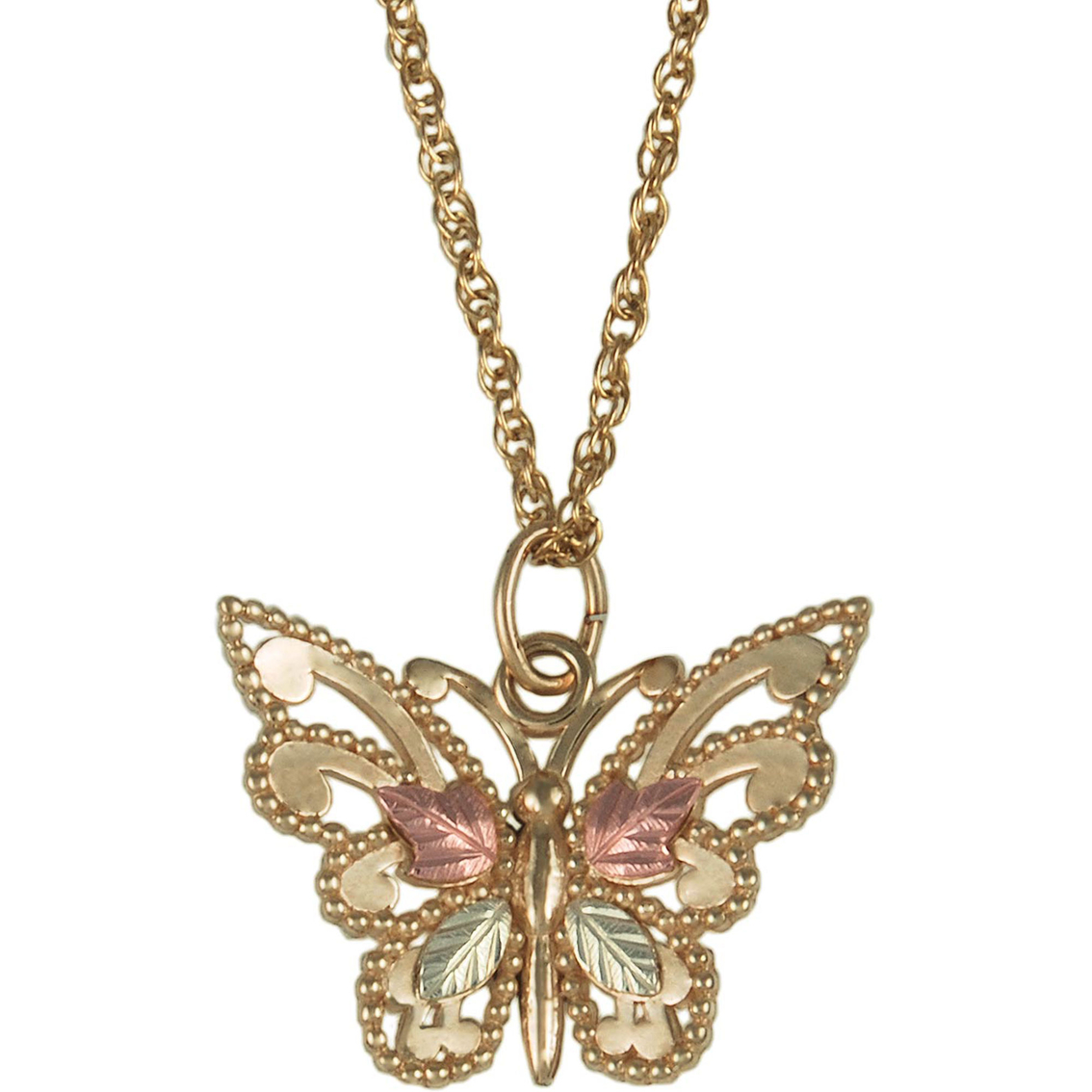80ac944380ba6 Black Hills Gold 10k Yellow Gold Tri-color Butterfly Pendant   Gold ...