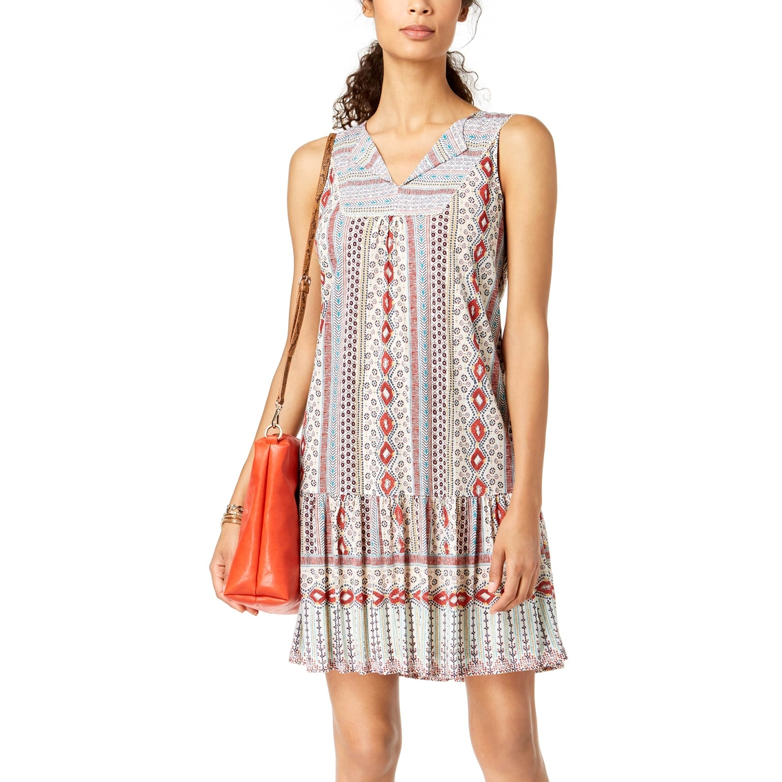 2c1d96991c9 Style   Co. Petite Printed V Neck Flounce Dress