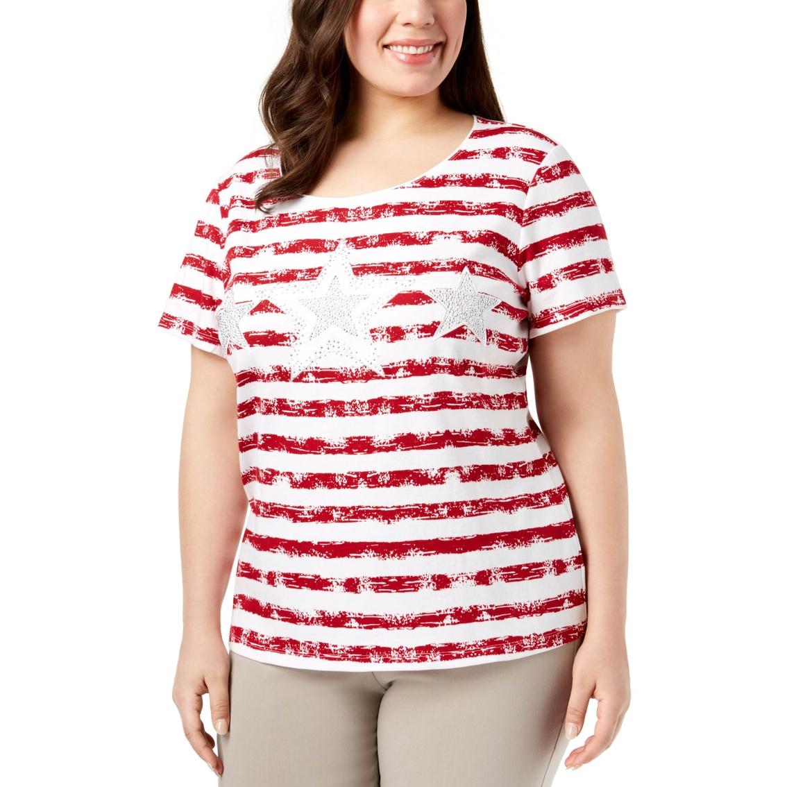 693daab5 Karen Scott Plus Size Embellished Striped Tee   T-shirts   Apparel ...