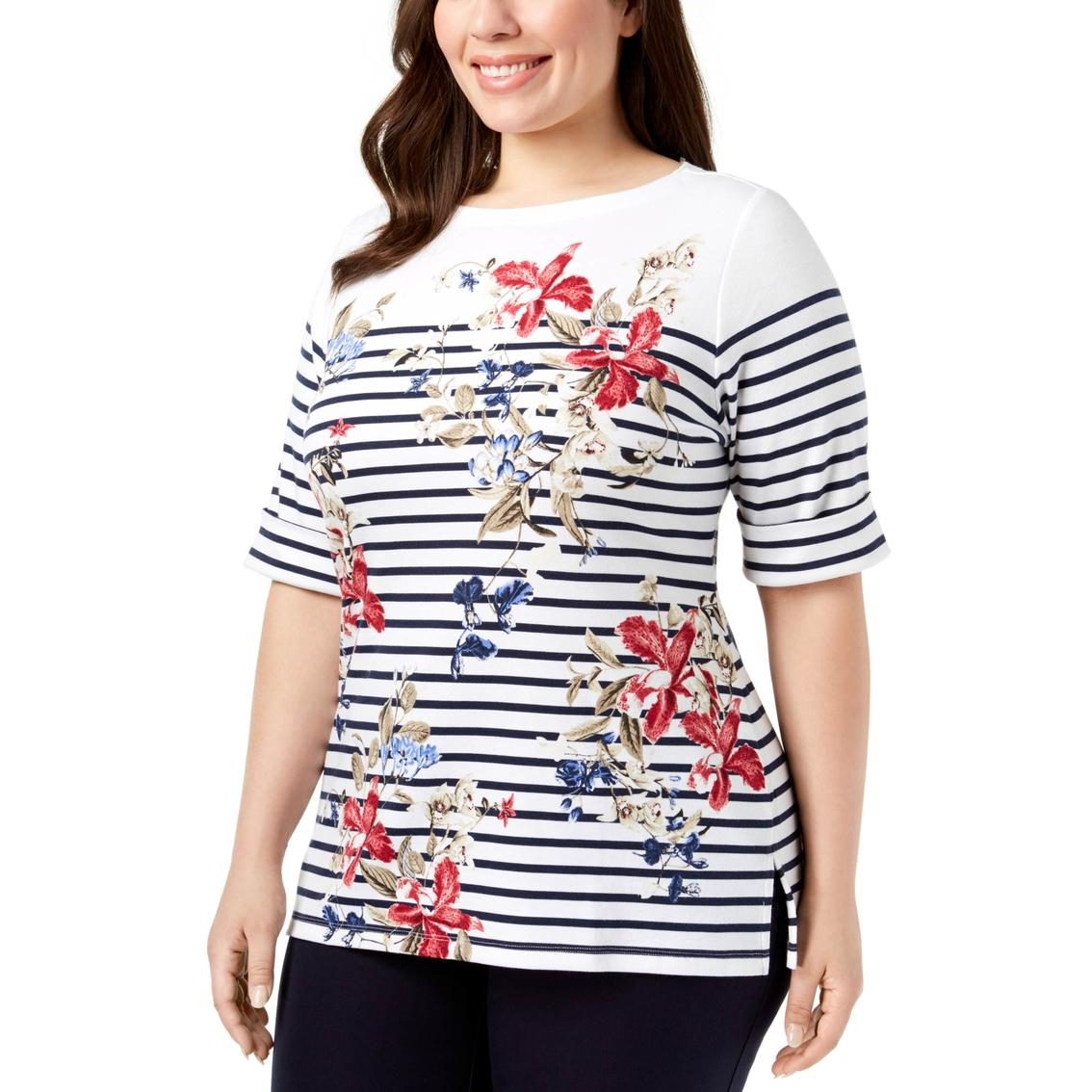 e0bd61ac3ea1 Karen Scott Plus Size Printed Boat Neck Top | Casual Shirts ...