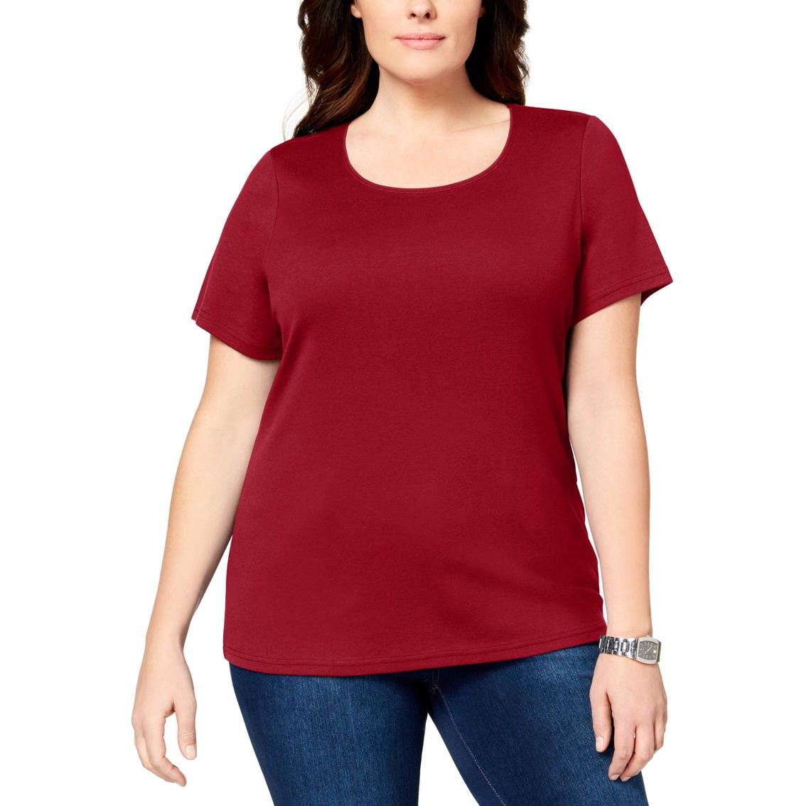 78c728547453d Karen Scott Plus Size Cotton Scoop Neck Tee