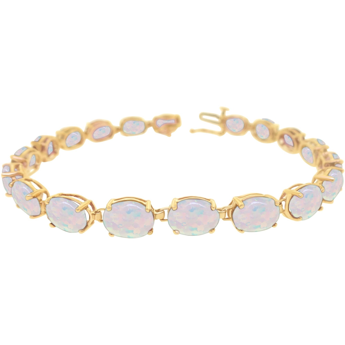 10k Yellow Gold Lab Created Opal Bracelet
