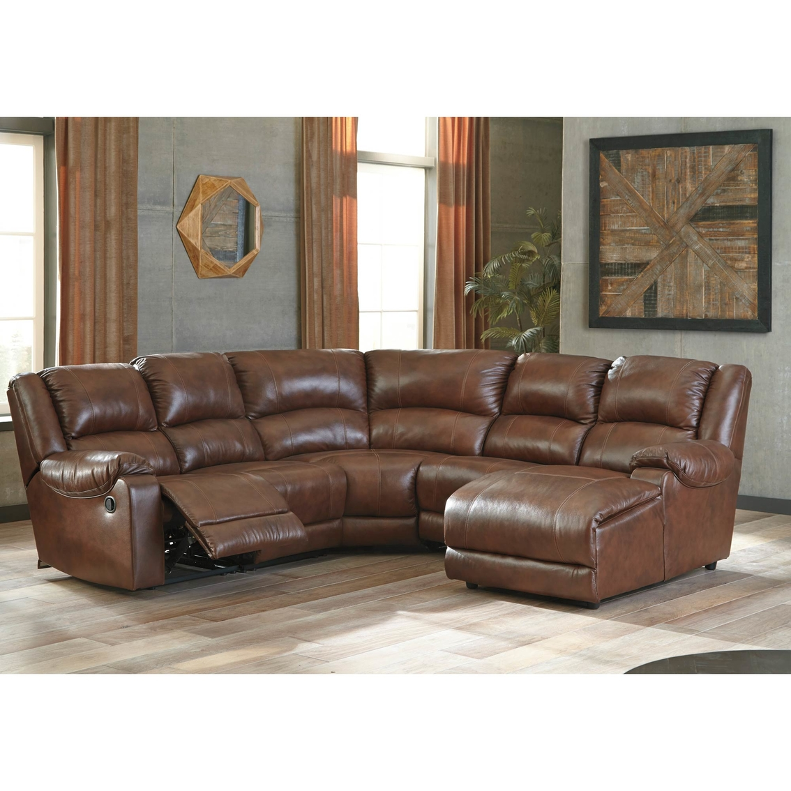 Ashley Billwedge Leather 5 Pc Sectional Raf Chaise 2