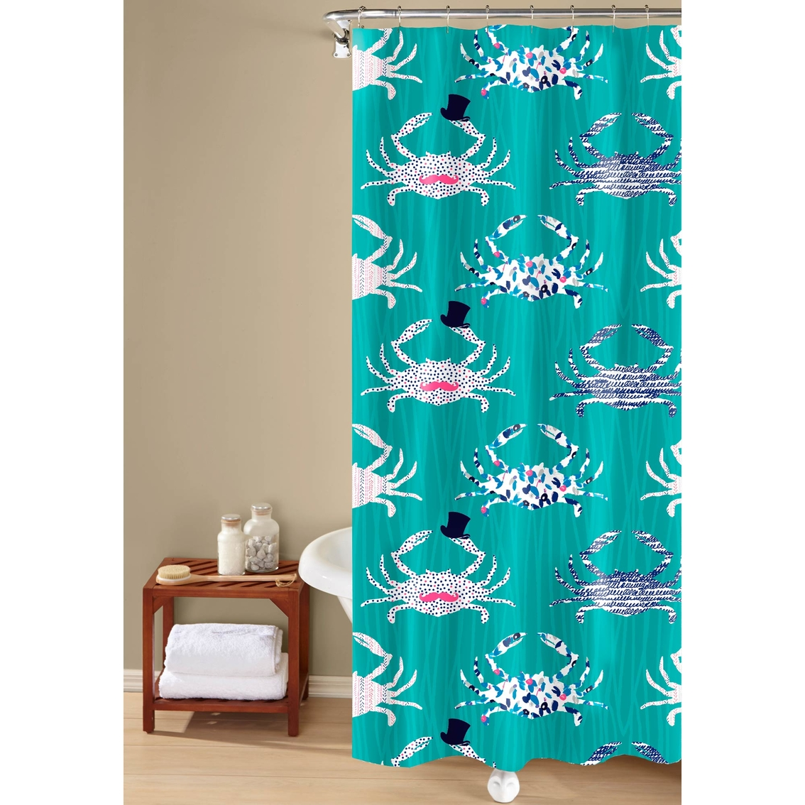 Whimsical Printed Crab Shower Curtain