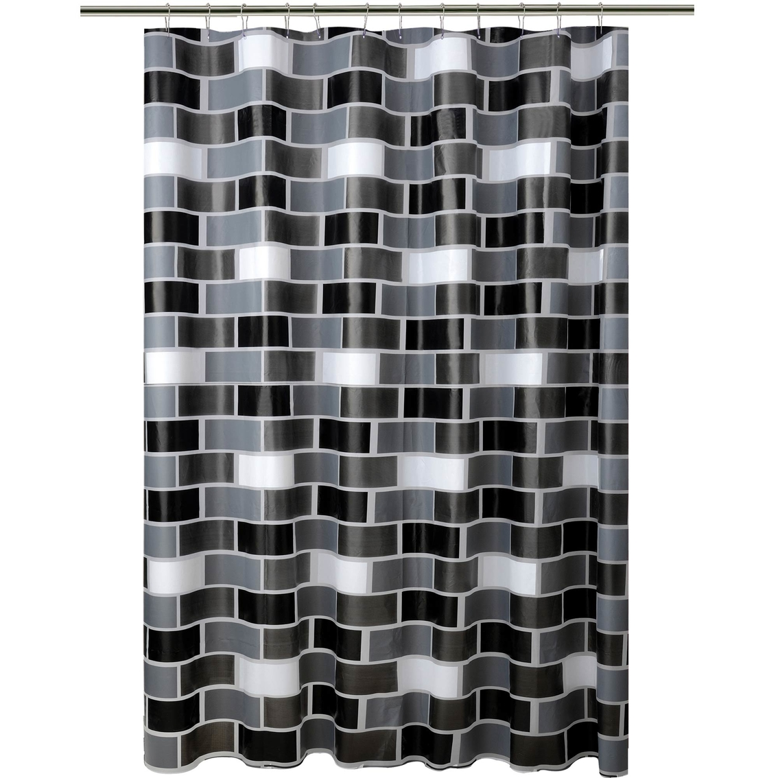 Bath Bliss Brick Design Shower Curtain Shower Curtains Hooks