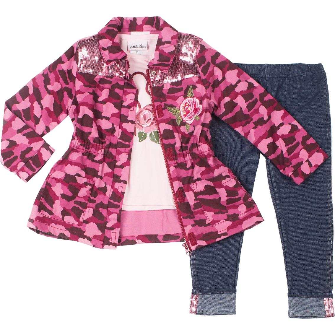 16204b56591e7 Little Lass Toddler Girls 3 Pc. Camo Heart Jacket Set | Toddler ...