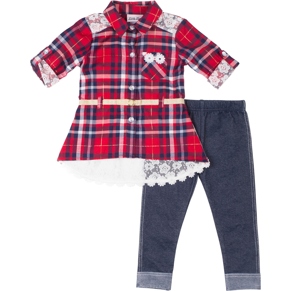 9066de02496e Little Lass Infant Girls Plaid Lace 2 Pc. Legging Set