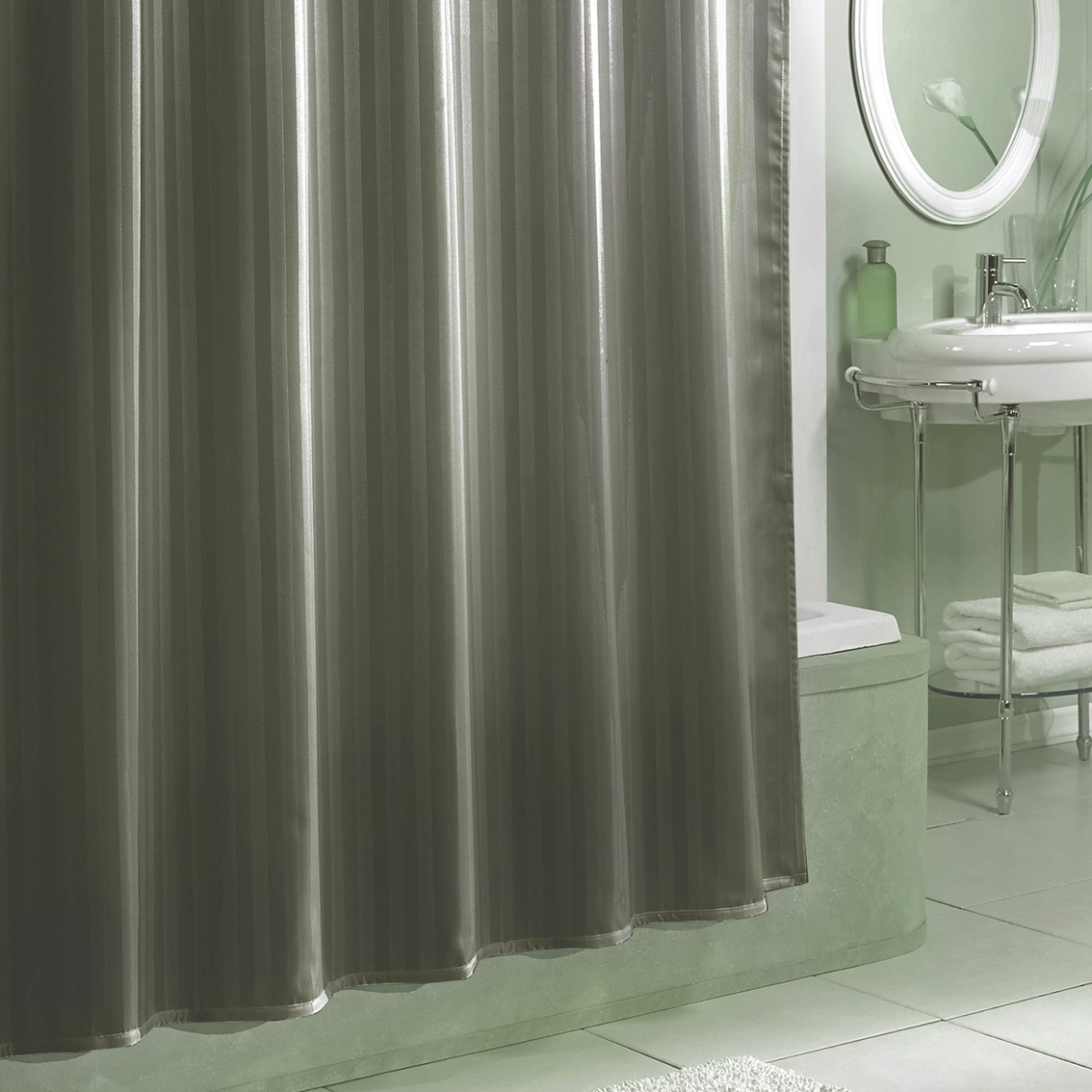Damask Stripe Fabric Shower Curtain Liner Shower Curtains