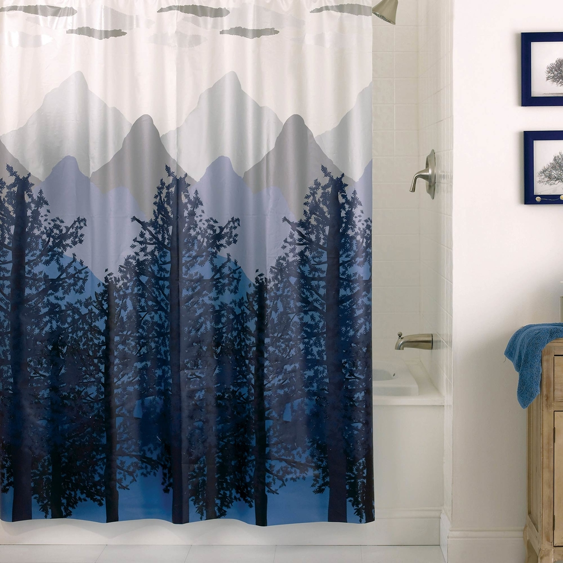 Misty Mountain 55 Gauge PEVA Shower Curtain