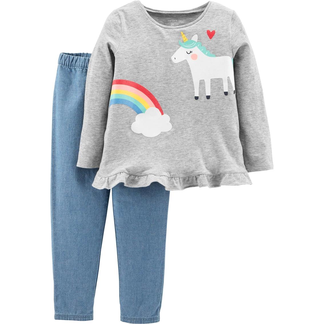 a8cfc253 Carter's Toddler Girls 2 Pc. Unicorn And Chambray Pants Set ...