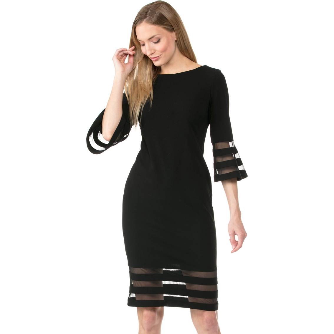 6776933a Calvin Klein Solid Illusion Mesh Bell Sleeve Sheath Dress | Dresses ...