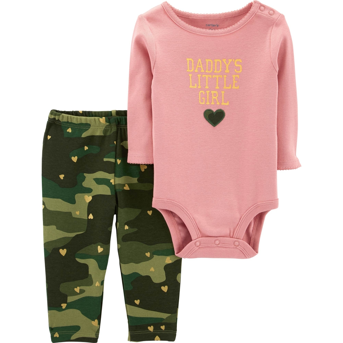 16f2d6381f0 Carter s Infant Girls 2 Pc. Daddy s Girl Bodysuit And Camo Pants Set ...
