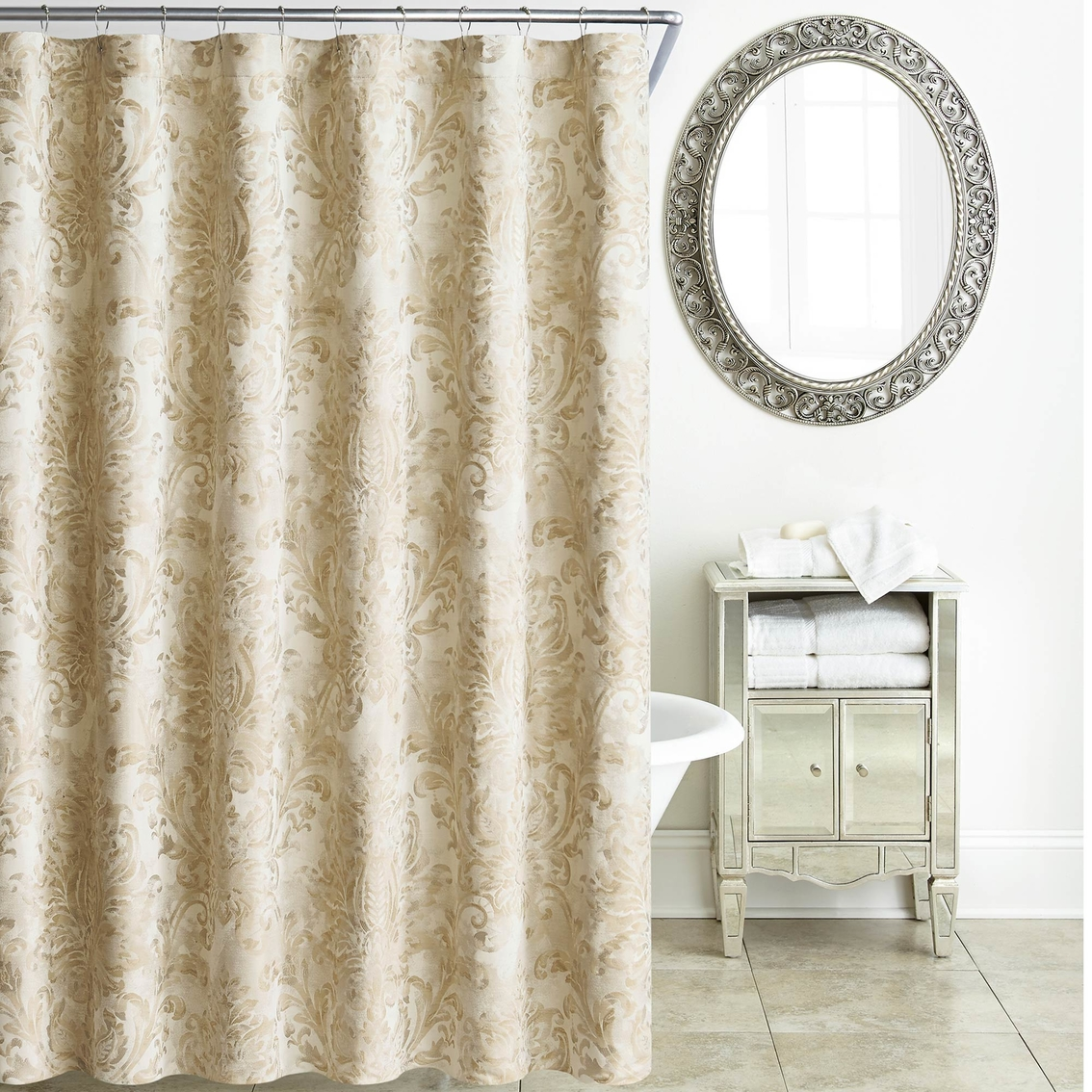 Waterford Annalise Gold Shower Curtain Shower Curtains Hooks