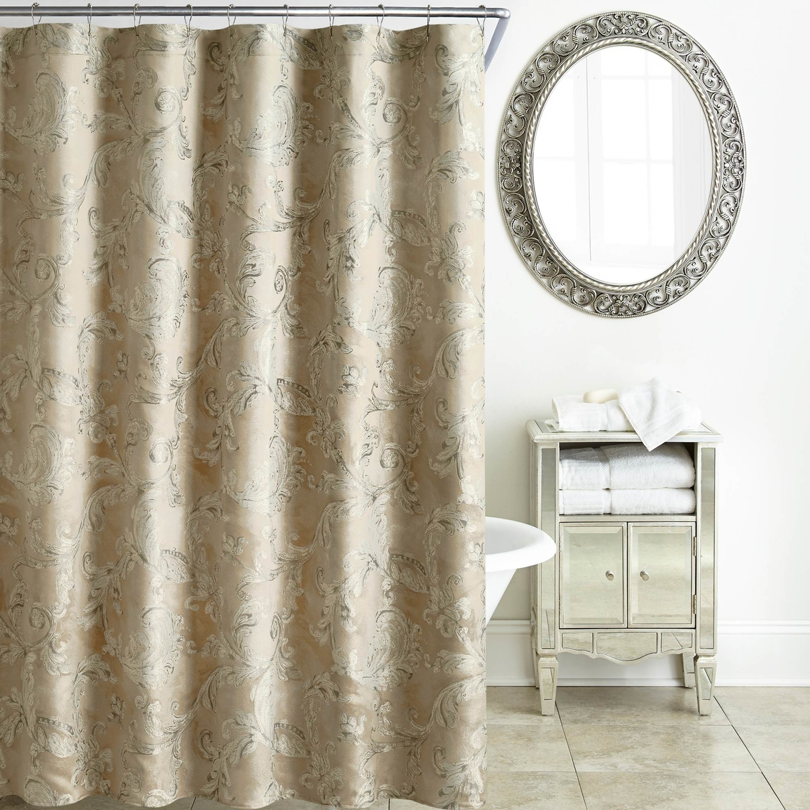 Waterford Chantelle Taupe Shower Curtain