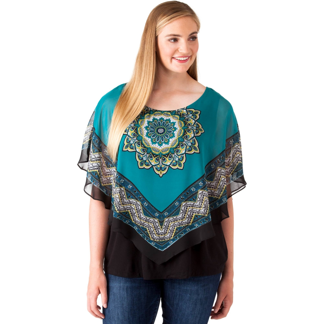 ac44918e7836d Agb Plus Size Medallion Scarf Popover Top