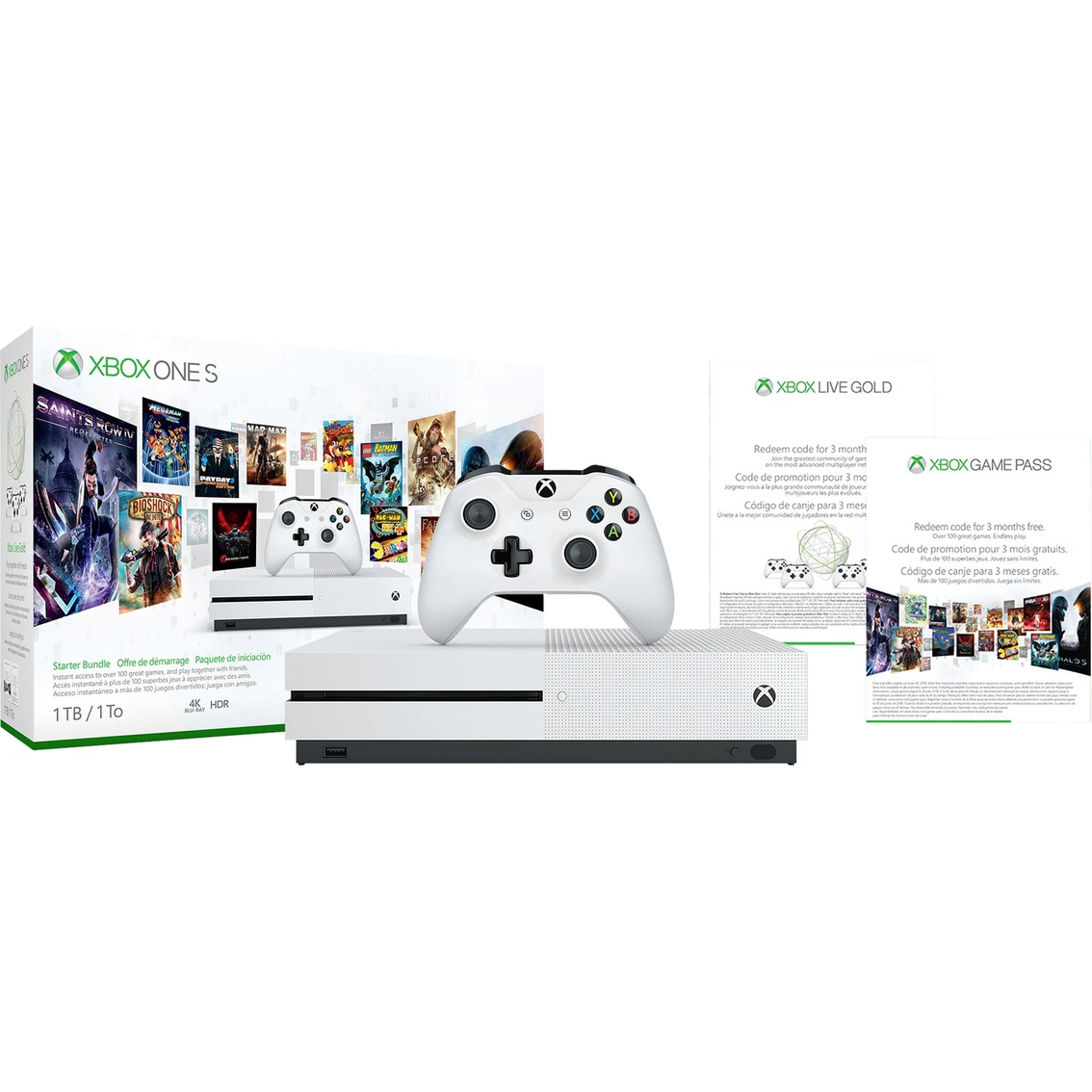 Xbox One S 1tb 3 Month Live/3 Month Game Pass Bundle | Xbox