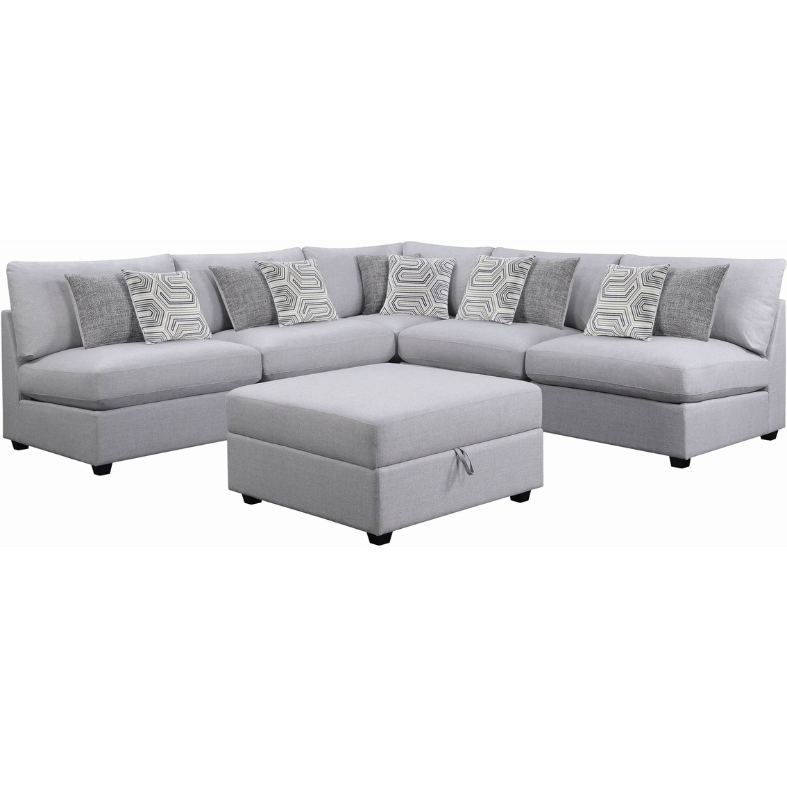 Scott living charlotte 5 pc. modern sectional with 4 armless chairs
