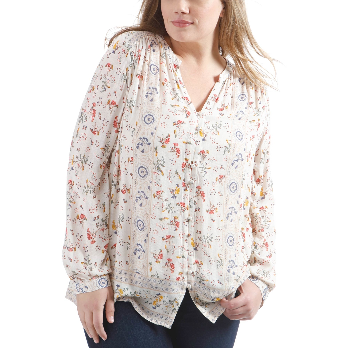 3b907bfd89 Lucky Brand Plus Size Printed Peasant Top