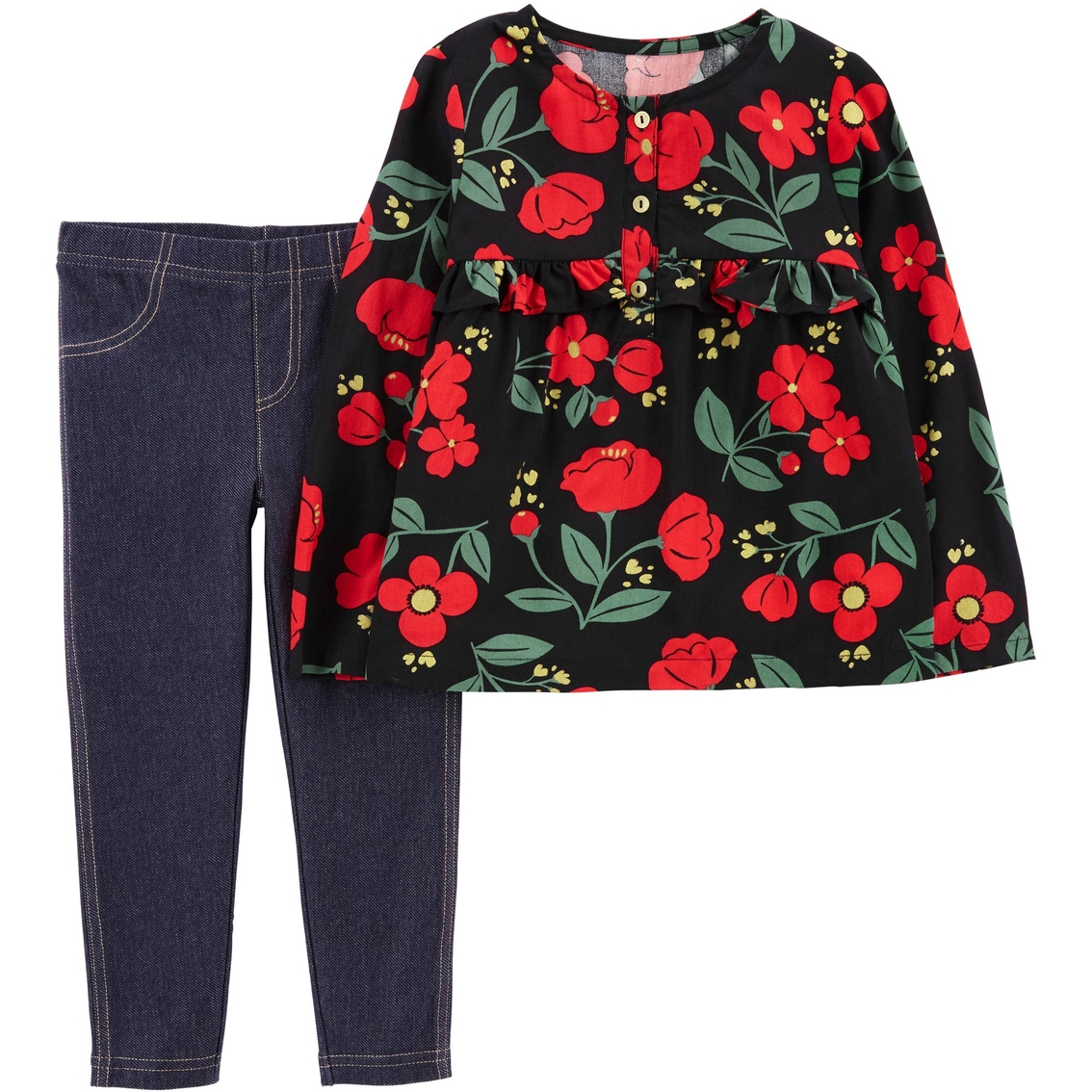 320e02820 Carter's Infant Girls 2 Pc. Floral Poplin Top And Jegging Set | Baby ...