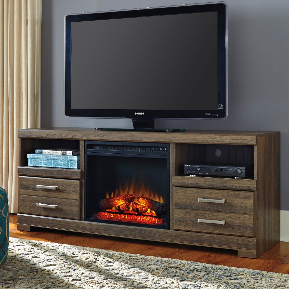 Ashley Frantin Tv Stand With Fireplace Insert Media