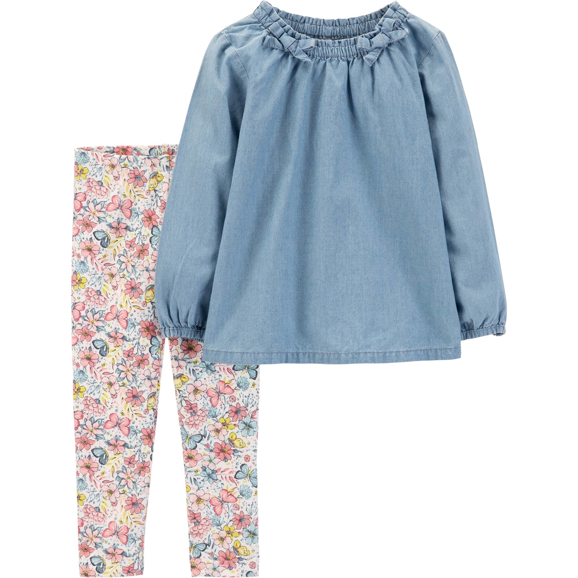 4bfe23f4b8f81 Carter's Toddler Girls 2 Pc. Chambray Top And Floral Leggings Set ...