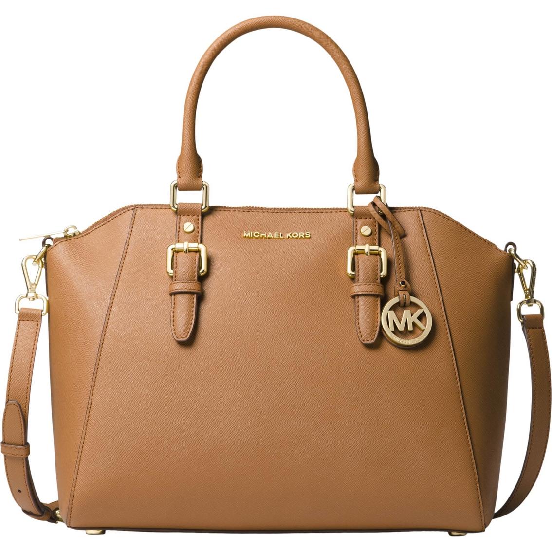 e53db176f283 Michael Kors Ciara Large Top Zip Leather Satchel Goldtone Hardware ...