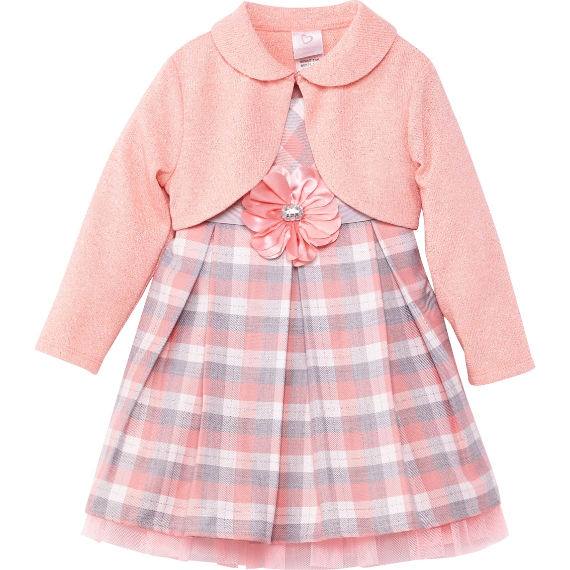 3b2cc33b2560d Youngland Infant Girls 2-pc. Dress With Knit Shrug | Baby Girl 0-24 ...