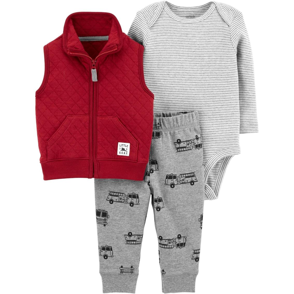 07c85e18 Carter's Infant Boys 3 Pc. Fire Truck Vest Set | Baby Boy 0-24 ...