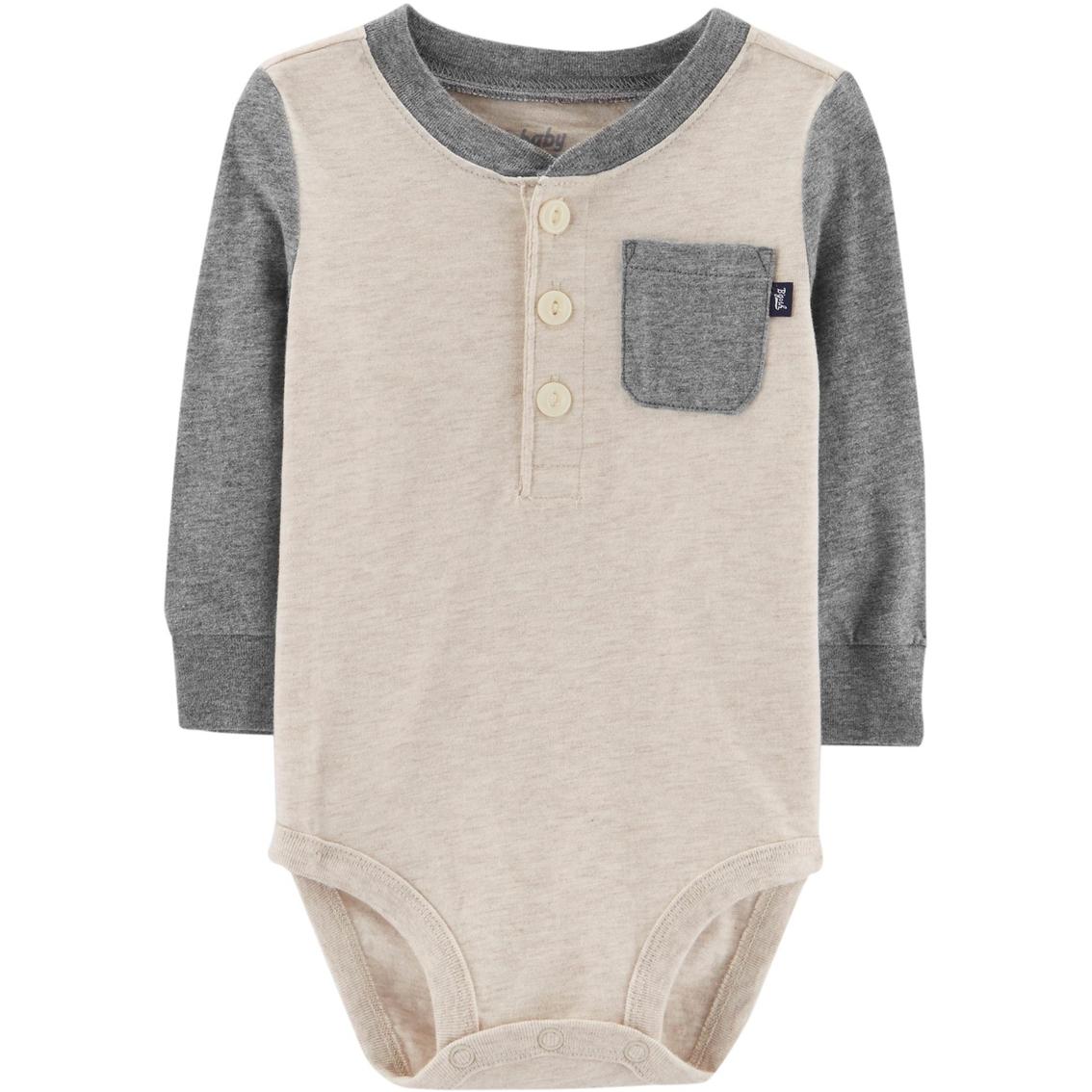 Oshkosh B Gosh Infant Boys Grey Henley Bodysuit Baby Boy