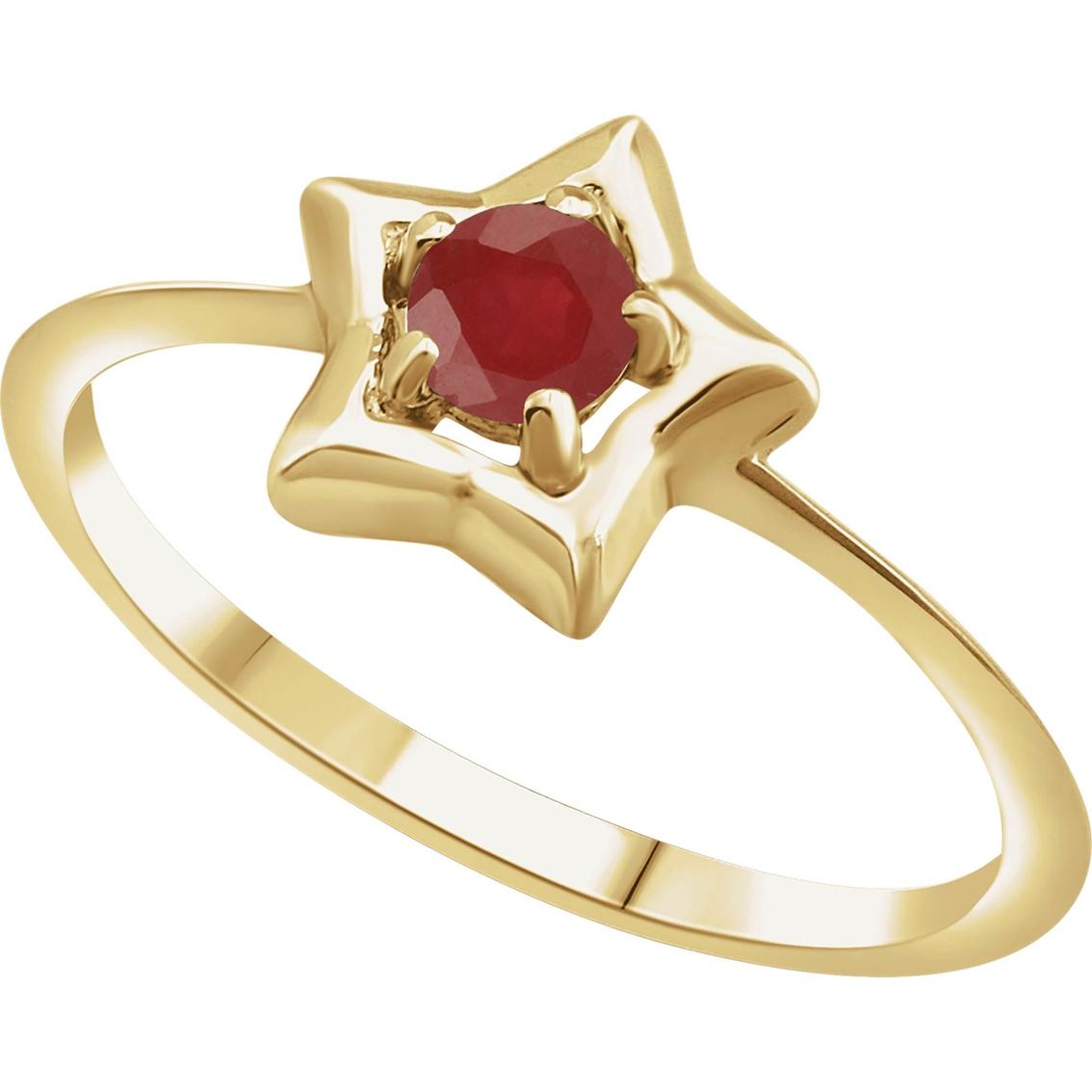 Karat Kids 14k Gold Imitation Ruby Youth Star Ring, Size 3
